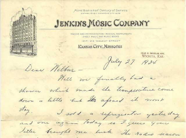 Jenkins Music Company letterhead 1934, Herbert A. Wright