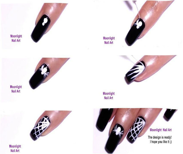 HALLOWEEN Nails: Spider Web Black and White Nail Art Tutorial