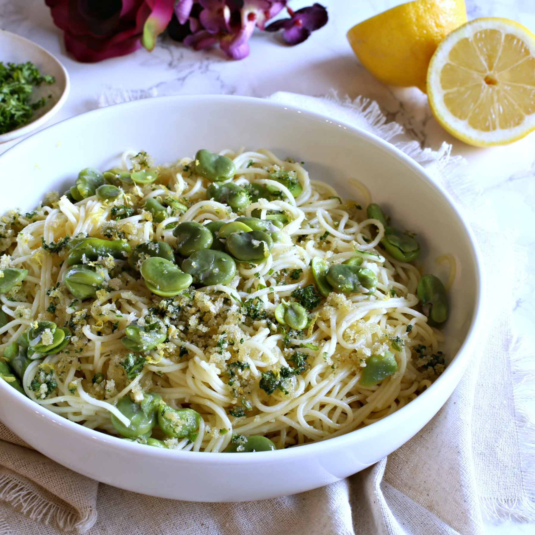 Pasta with fava beans and lemony garlic breadcrumbs