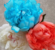 food coloring dyed patriotic peonies