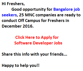 Bangalore Jobs for Freshers