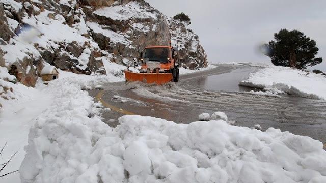 ΄Εκλεισαν δρόμοι στην Αργολίδα από τα χιόνια