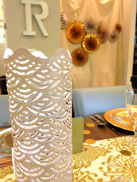 Simple and easy gold themed party using gold paper accents.