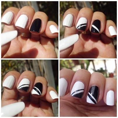 manicura blanca y negra con lineas