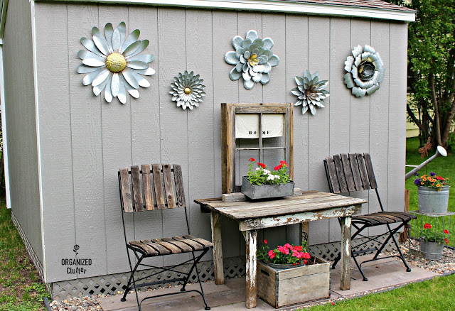 Rustic crate with annuals.