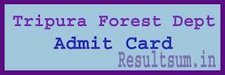 Tripura Forest Dept Admit Card 2015