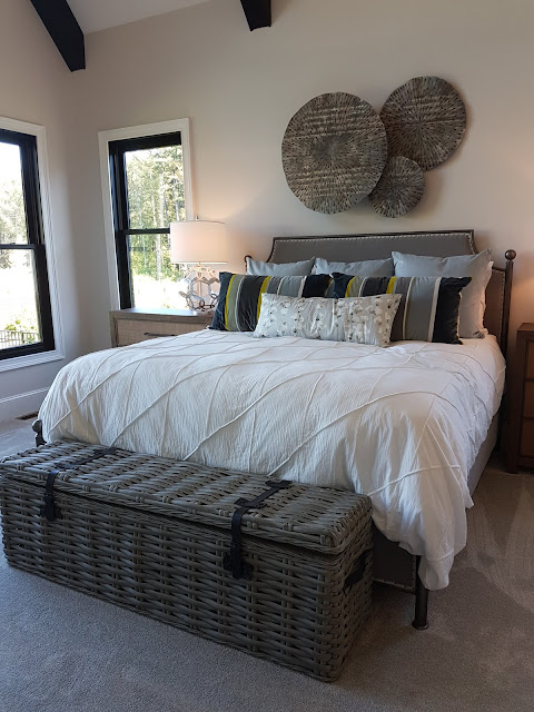 white and grey master bedroom with bed