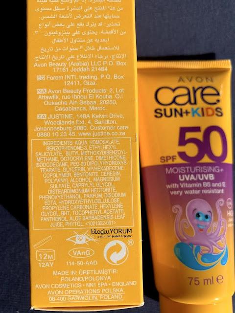 avon care sun kids spf 50 çocuklar için güneş kremi içerik