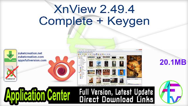 XnView 2.49.4 Complete + Keygen