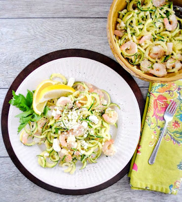 5-Ingredient Shrimp Salad with Zucchini Noodles, Lemon, Garlic, and Feta Cheese from Mother Rimmy's Kitchen featured for Low-Carb Recipe Love on Fridays (8-19-16) found on KalynsKitchen.com