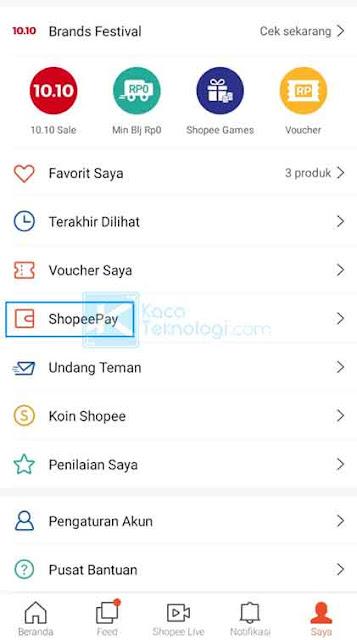 Silakan Anda buka aplikasi Shopee kemudian klik menu Saya yang terdapat di pojok kanan bawah lalu pilih ShopeePay.