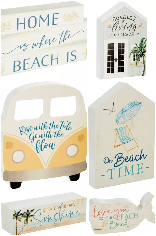 Mini Wood Block Beach Signs Quotes