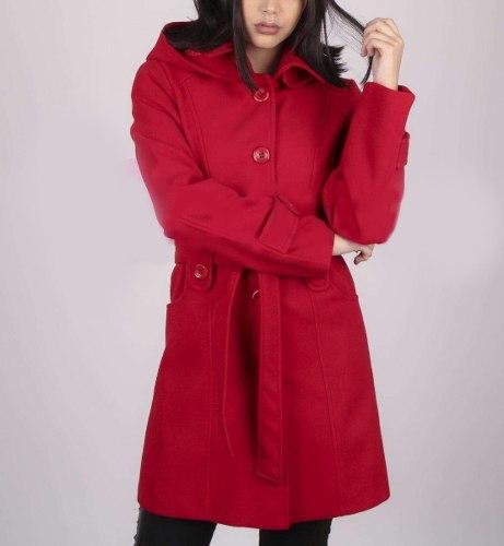 Mujer Paño 2018 Abrigo Largo Tapado Rojo Capucha Saco Desmontable 44Tznq 924fb9a6f4d5