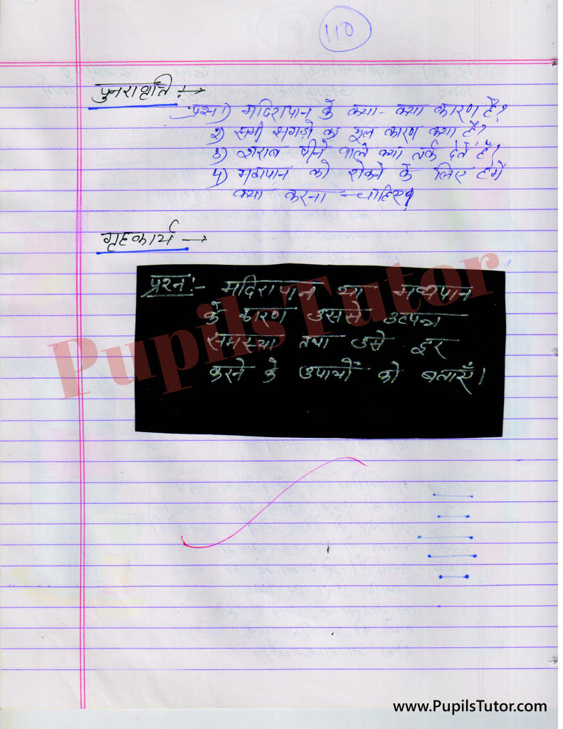 Drinking of Alcholol Lesson Plan in Hindi
