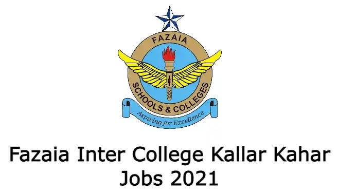 Fazaia Inter College Kallar Kahar Jobs 2021 Advertisement