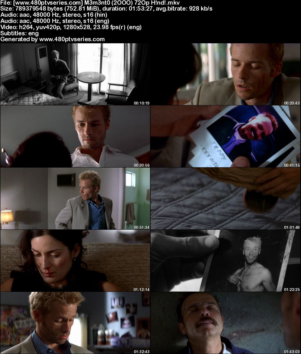Watch Online Free Memento (2000) Full Hindi Dual Audio Movie Download 480p 720p Bluray