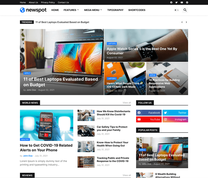 Newspot Magazin Blogger  Teması 2021