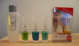 Trind Nail Polish Remover, three nail polishes, and Keratin Treatment for nails