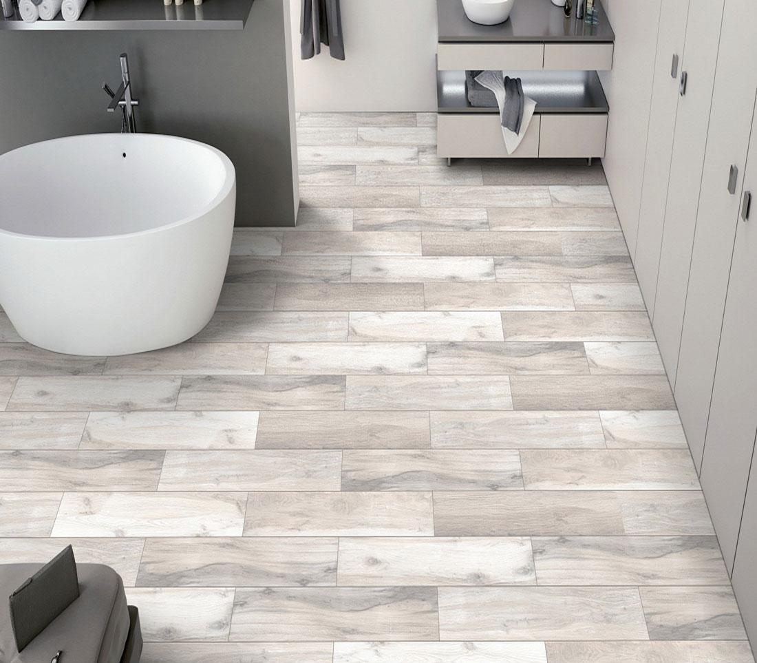 white porcelain tile bathroom