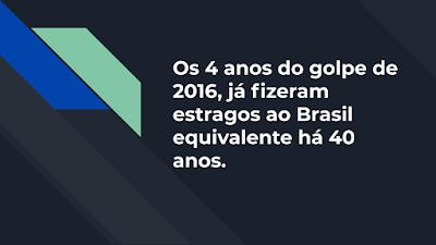Os 4 anos do golpe de 2016, já fizeram estragos ao Brasil equivalente há 40 anos.