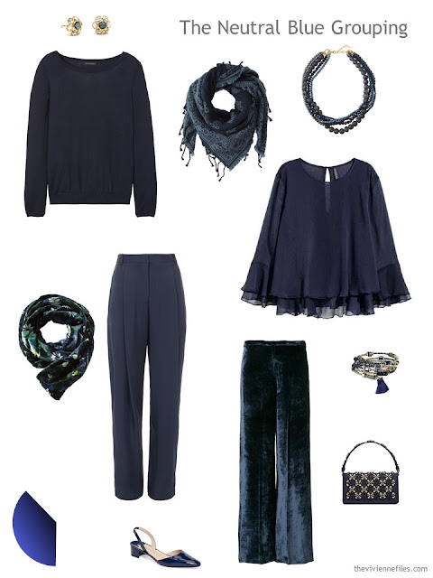 Four garments in dark blue for evening wear