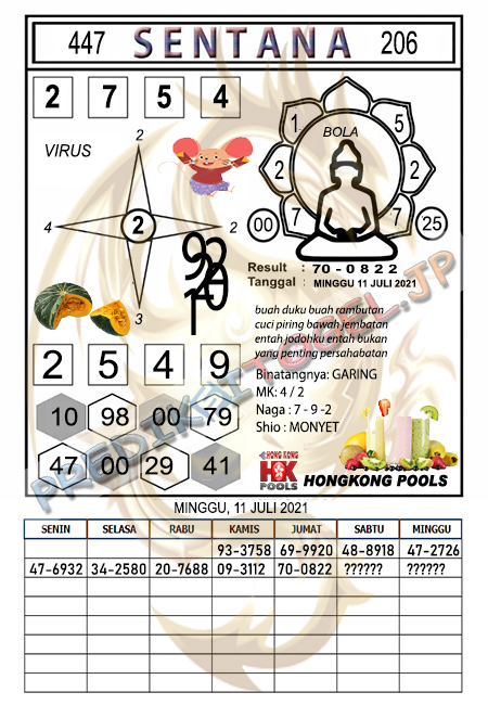 Syair Sentana HK Minggu 11-07-2021