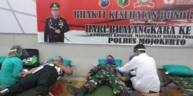 """Mojokerto, - Sejumlah 25 personel Kodim 0815/Mojokerto mengikuti Bakti Sosial Donor Darah dalam rangka memperingati HUT Ke-74 Bhayangkara Tahun 2020, di Mapolres Mojokerto Jalan Gajah Mada Nomor 99 Mojosari, Kabupaten Mojokerto, Jawa Timur, Senin (22/06/2020) sore.    Dandim 0815/Mojokerto Letkol Inf Dwi Mawan Sutanto, SH., saat dikonfirmasi mengungkapkan, aksi kemanusiaan donor darah ini merupakan salah satu bentuk kepedulian TNI khususnya Kodim 0815/Mojokerto, sekaligus wujud sinergitas TNI-Polri dalam membantu ketersediaan darah di PMI Kabupaten Mojokerto.  Alumni Akmil Angkatan 2000 Kecabangan Infantri ini menegaskan, melalui donor darah ini, diharapkan dapat membantu masyarakat yang sedang membutuhkan darah, setetes darah ini tentunya tidak hanya dapat menolong bahkan mampu menyelamatkan sesama.  """"Ketersediaan darah harus terus terjaga di Unit Tranfusi Darah (UTD) PMI, sebagai langkah antisipasi bila terjadi situasi darurat seperti adanya operasi maupun kecelakaan, dan lain-lain,"""" pungkas Pria kelahiran Purbalingga Jawa Tengah.  Pantauan di lapangan, selain Prajurit Kodim 0815/Mojokerto, aksi sosial donor darah tersebut diikuti personel Yonif Para Raider 503/MK, Anggota Polres Mojokerto dan Polsek Jajaran, serta anggota Bhayangkari Polres Mojokerto. Pelaksanaan donor darah tersebut tetap mengedepankan protokol kesehatan. (Jayak)"""