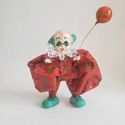 Papier Mache Clown Figurine