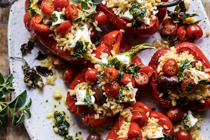 red peppers with lemony basil tomatoes