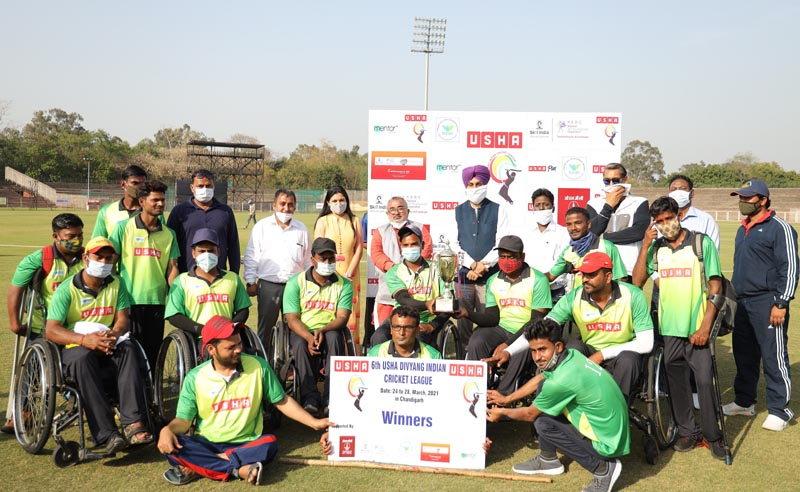 Winners of Usha Divyang Cricket League 2021 pose for a group photograph
