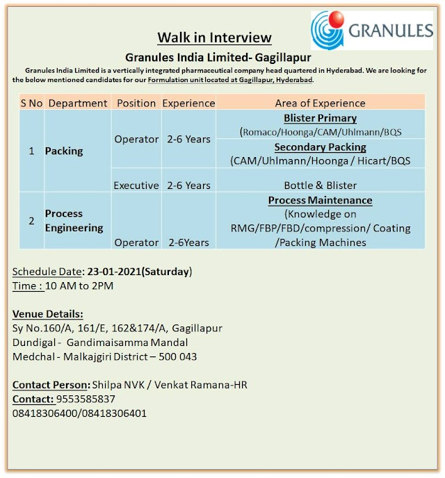 Granuels India Ltd. Walk in Drive- Packing/ Process Engineering On 23rd Jan 2021@  Gagillapur, Medchal District