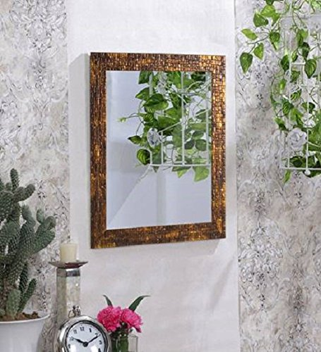 Art Street Lavaliere Fiber Wood Wall Mirror (15x19 inch, Antique Gold)