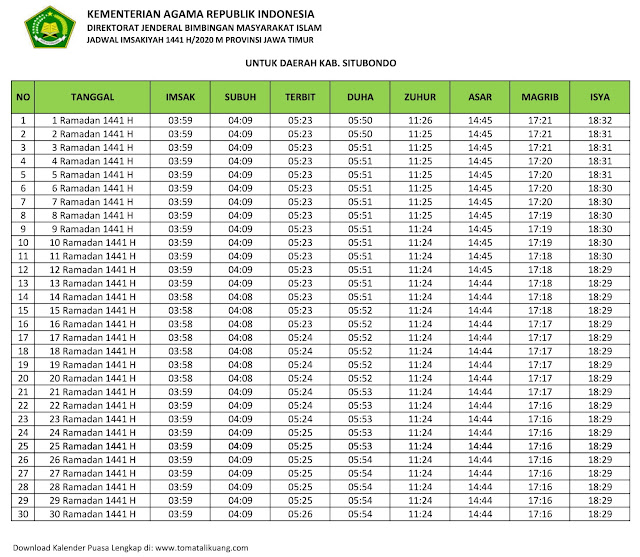 jadwal imsak waktu buka puasa Kabupaten Situbondo 2020 m ramadhan 1441 h tomatalikuang.com