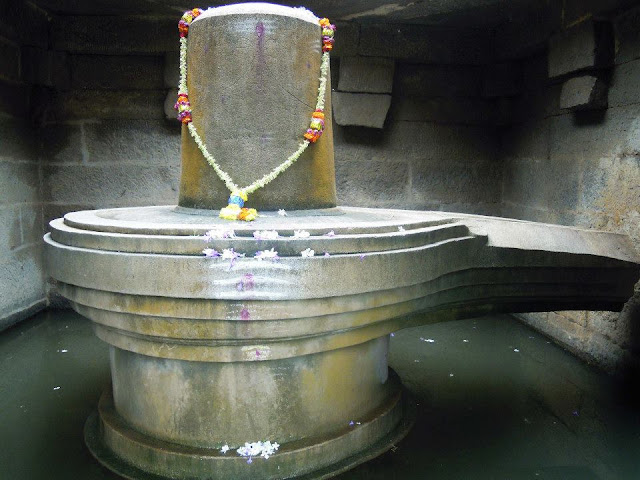 A monolithic, 3 meters high Shiva Linga in Hampi.