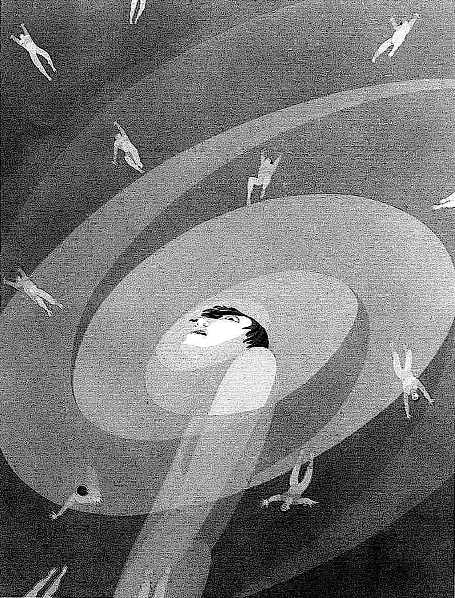 a John Vassos 1931 illustration of Pantophobia,  the fear of everything