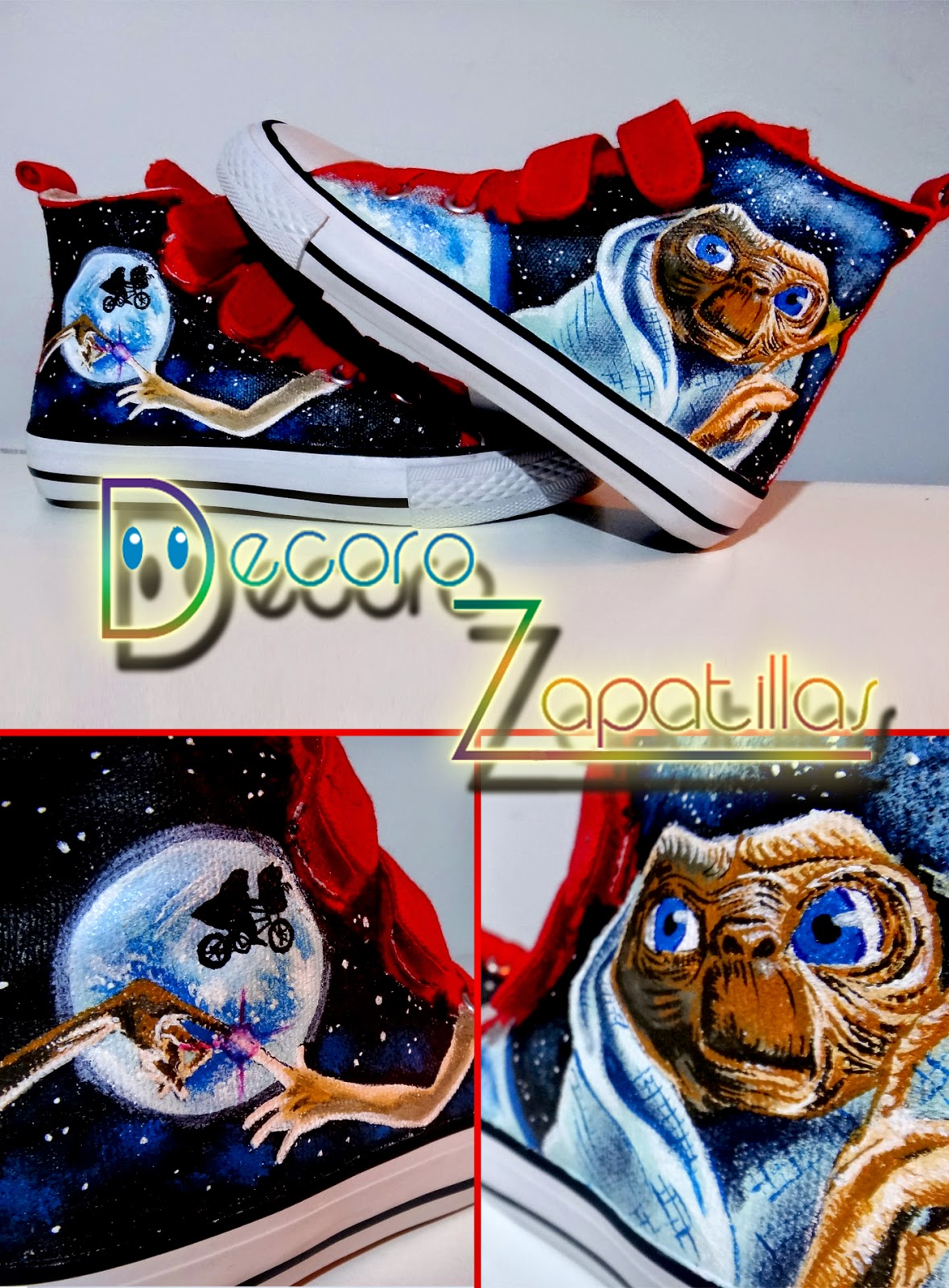 ET movies custom canvas shoes high tops handmade