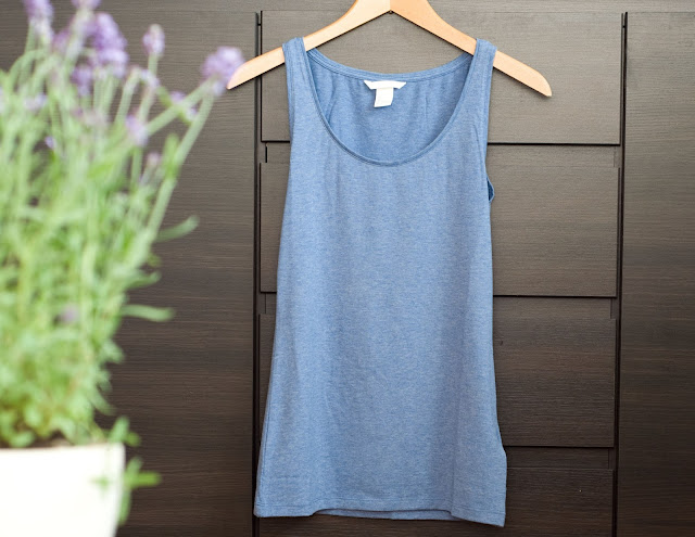 top H&M basic niebieski bawełna + elastan