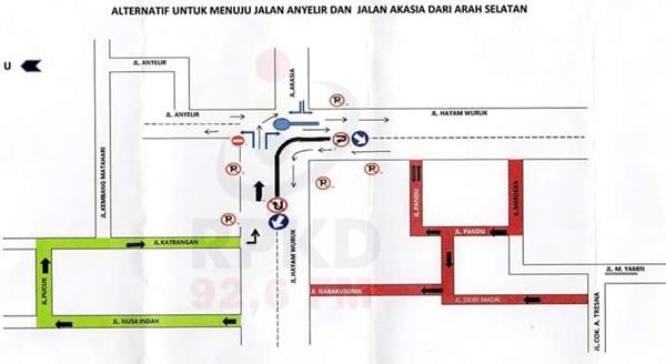 Perubahan arus lalu lintas Jl. Anyelir - Akasia resmi berubah.