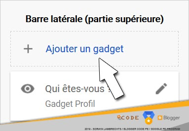 Ajouter un widget dans la mise en page.