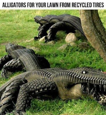 Kreatifitas membuat aligator dari ban bekas