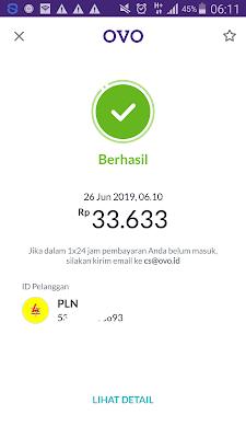 Bukti Pembayaran Tagihan PLN Pascabayar dari Aplikasi OVO Android