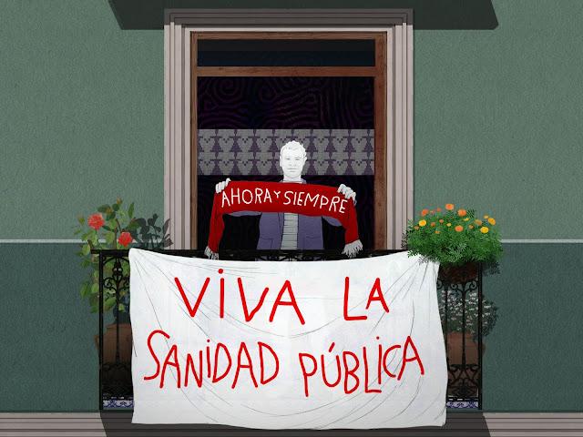 en el balcon,, ahora y siempre, viva la sanidad publica