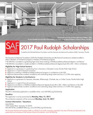 2017 SAF Paul Rudolph Scholarship