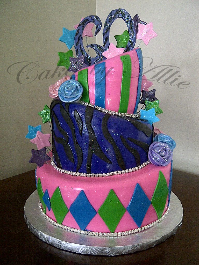 Cakes By Allie Fun Topsy Turvy 60th Birthday Cake