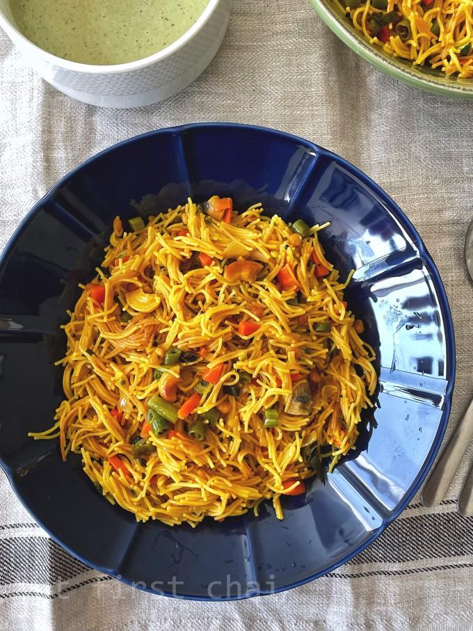 Semiya upma served along with bowl of chutney