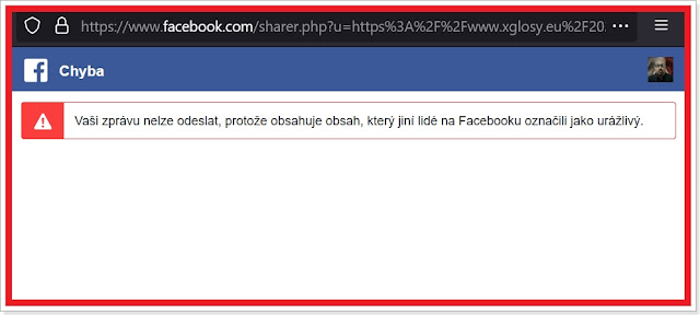Můj Facebook - Upozornění na nemožnost odeslání zprávy