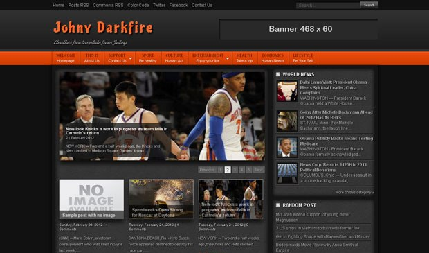 Free Johny Darkfire Blogger Template