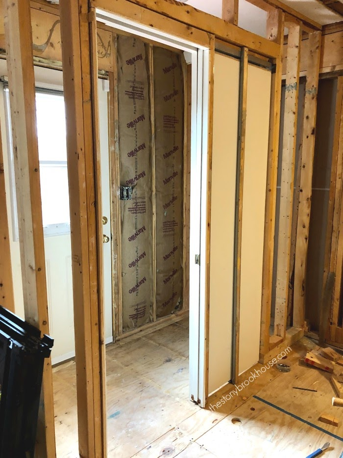Pocket Door Installed in water closet -open