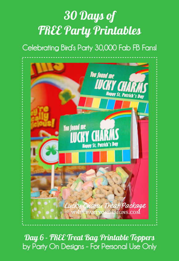 Free Printables St Paddy's Day Treat Bag Toppers - via BirdsParty.com