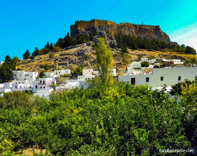 Fortaleza dos Cruzados na Vila de Lindos, na Grécia